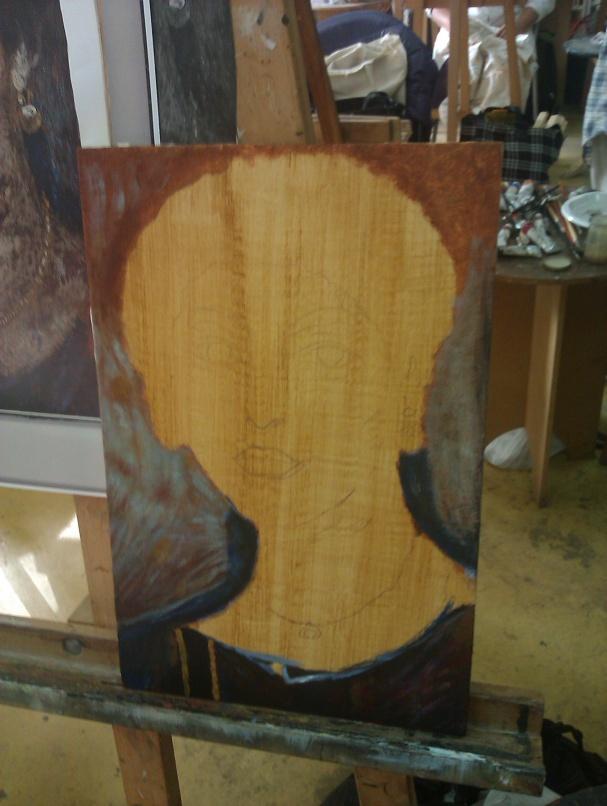 First step of a Fayum portrait copy. Première étape d'un copie d'un Fayoum