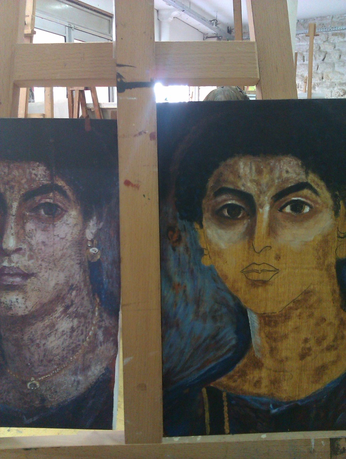 Fayum painting process. Technique de peinture d'un portrait du Fayoum.